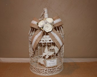 Wedding Birdcage Cardholder / Ivory Wedding Birdcage / Wedding Cardholder