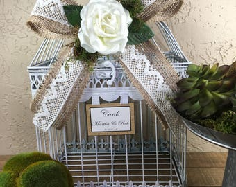 Wedding Birdcage Cardholder / White Wedding Birdcage / Wedding Cardholder