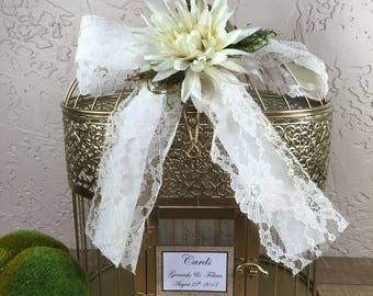 Gold Wedding Birdcage Cardholder / Rustic Wedding Birdcage / Wedding Cardholder