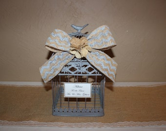 Wedding Birdcage Cardholder / Gray Wedding Birdcage / Wedding Cardholder