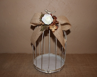 Wedding Birdcage Cardholder /  Burlap Wedding Birdcage / Wedding Cardholder