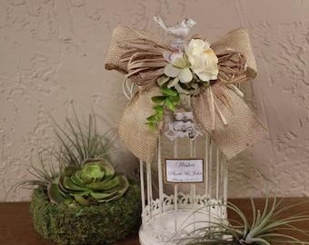 Wedding Rustic Wishes Birdcage Cardholder / Rustic Wedding Birdcage / Wedding Advice Cage