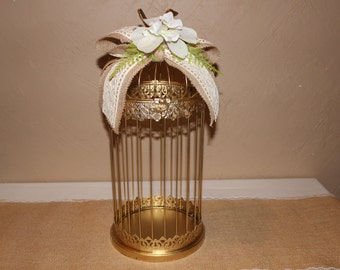 Wedding Gold Birdcage Cardholder / Rustic Wedding Birdcage / Wedding Cardholder