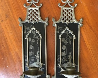 1 Pair of Black Tole Sconces with Chinoiserie, Asian Black Sconces, Black Metal Sconces, Candlestick Wall Sconces