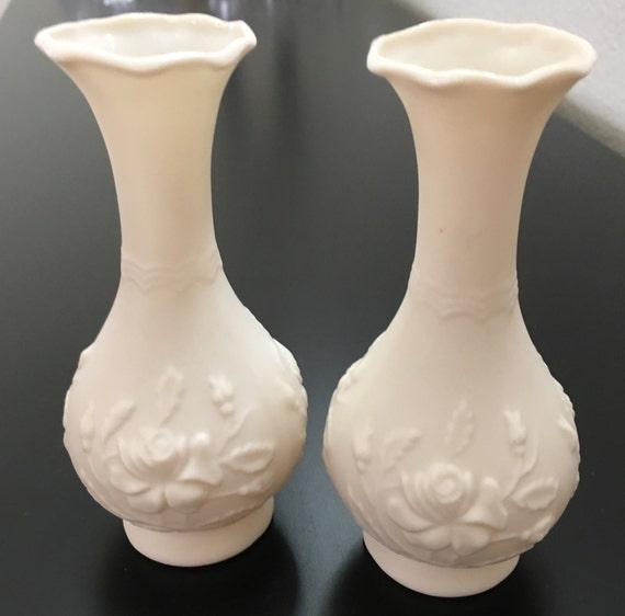 Pr Of White Bisque Vases With Floral Design Bisque Vase Etsy