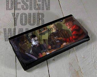 womens wallet bi fold wallet halloween horror monsters clutch wallet freddy krueger jason michael myers classic horror