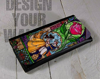 Womens Wallet Leather bi-fold beauty and the beast stained glass artwork. card holder checkbook birthday wedding gift. Disney inspired