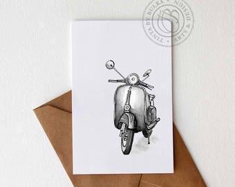 Birthday Card Boyfriend Vespa Gift Valentine Gift Boyfriend Birthday Scooter Gift Vespa Print Card for Him Motorcycle Gift Idea Vespa Art