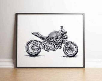 Ducati Monster Superbike Motorcyclist Gift Ducati Gifts Ducati Print Gift Men Motorcycle Gift Ducati Gift Ideas Ducati Motorcyclist Ducati