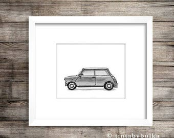 Car Wall Decor Car Print Teenager Print Mini Cooper Lover Classic Mini Cooper Mini Cooper Gift Mini Cooper Print Mini Cooper BMW