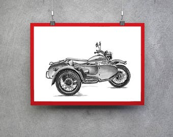 Ural Motorcycle Motorcycle Gift Idea Ural Bike Poster Motorcycle Wall Art Motorcycle Print Motorcyclist Gift Motorcycle Art Motorcycle Gift