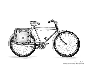 Bicycle Design Shopping Bicycle Bicycle Illustration Vintage Bicycle Bike Bicycle Gift Bicycle Decor Bicycle Art Print Bicycle Art