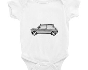 Mini Cooper Baby Mini Cooper Art Mini Cooper Funny Baby Gift Hipster Onesies Tintabybulka Funny Onesies  Baby Bodysuit Trendy Baby Hipster B