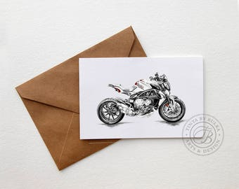 MV Agusta Italian Motorcycle Motorcycle Card Motorcycle Art Boyfriend Birthday Mans Birthday Motorcycle Gift Sports Bike Racing Bike