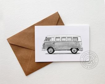 VW Camper Wanderlust Gift Retro Camper VW Van Campervan Vintage Camper Happy Camper Glamping Wanderlust Travel  Retro Camper Minimalist Card