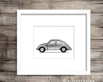 VW Beetle VW Beetle Gift Volkswagen Beetle Volkswagen Poster Car Enthusiast Gift Car Wall Art Vintage Car Art Volkswagen Wall Art