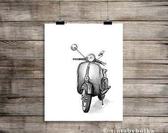 VESPA Art Print Vespa Art Vespa Home Decor Vespa Poster Vespa Illustration Vespa Drawing Motorcycle Gift Vespa Gift Gift Biker Gift Ideas