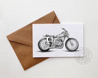 Flat Track Boyfriend Card Motorcyclist Gift Triumph Gift British Motorcycle Triumph Motorcycle Motorcycle Gift Motorcycle Gift Men