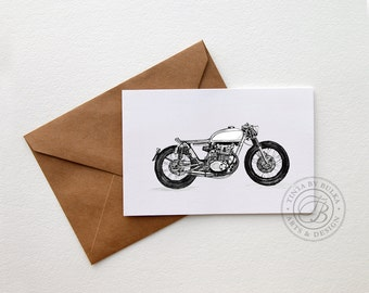 Honda Motorcycle Honda Cafe Racer Cafe Racer Masculine Card Birthday Card Dad Mans Birthday Motorcycle Gift Motorcycle Art Boys Birthday