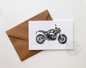 BMW R Nine T BMW Men Motorcycle Gift BMW Motorcycle Motorcyclist Gift Motorcycle Art Motorcycle Gifts Boyfriend Birthday Boyfriend Card