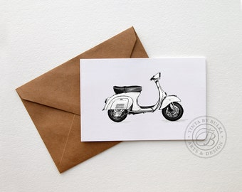 Vespa Drawing Boyfriend Birthday Card for Him Vespa Gift Motorcycle Gift Idea Scooters Vespa Art Vespa Print Gift Vespa Boyfriend Gift