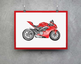 Ducati V4 Superbike Motorcycle Art Motorcycle Gift Motorcycle Decor Motorcycle Wall Art Motorcycle Poster Motorcycle Print Ducati Gifts