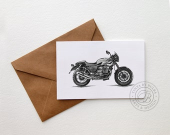 Moto Guzzi Cafe Racer Motorcycle Art Motorcycle Boyfriend Birthday Fathers Day Boyfriend Card Motorcycle Gifts Gift for Him Husband Card