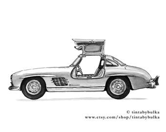 Mercedes Mercedes Benz Mercedes Gullwing Mercedes Gift Boys Room Print Boys Room Wall Decor Garage Decor Car Wall Art Car Enthusiast