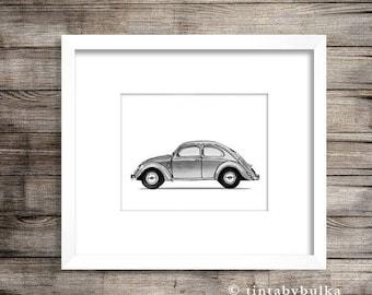 VW Beetle VW Beetle Gift Volkswagen Beetle Volkswagen Poster Car Enthusiast Gift Car Wall Art Vintage Car Art Volkswagen Wall Art