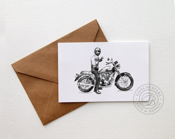 Featured listing image: Motorcyclist Gift Boyfriend Card Motorcycle Gift Idea Triumph Gift Triumph Bonneville Motorcycle Gift Men Motorcycle Gift Triumph Motorcycle