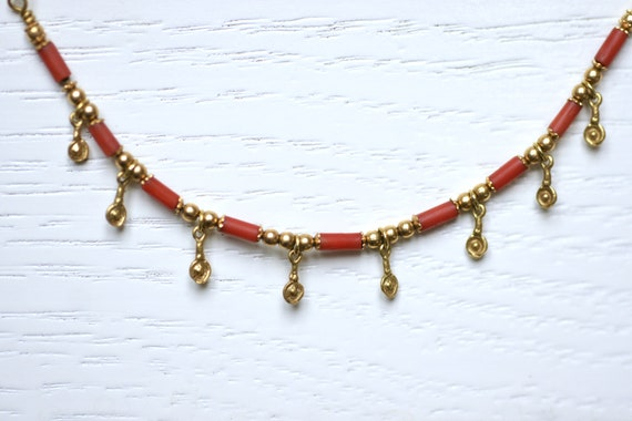 Gold and coral vintage necklace