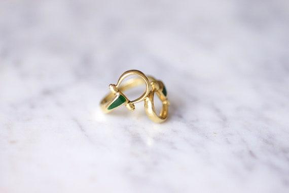 Vintage Gucci horsebit enameled gold ring, 70s - image 5