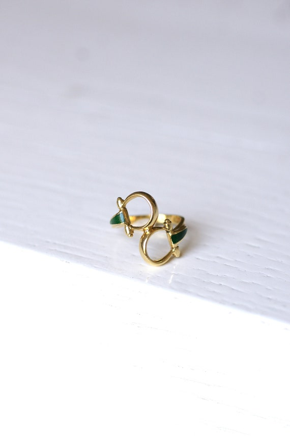 Vintage Gucci horsebit enameled gold ring, 70s - image 2