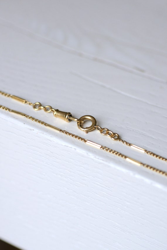 French 18K Yellow Gold Victorian Necklace Fob Chai
