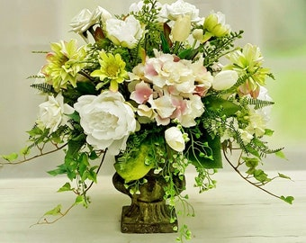 LG Table Centerpiece, Year Round Centerpieces, Table Centerpieces, Flower  Arrangements, Hydrangea Arrangements, White Centerpieces A147