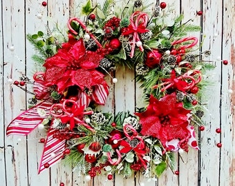 Peppermint Christmas Front Door Wreath, Holiday Wreaths, Red and White Wreaths, Christmas Fireplace Wreaths, Candy Cane Wreath         W246