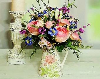 Flower Arrangement, Artificial Flowers, Floral Arrangements, Tabletop  Arrangements, Centerpieces, Home Decor, Silk Arrangements A142