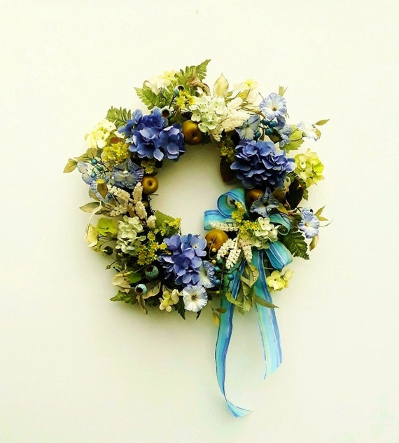 Front Door Wreath Summer Door Wreaths Hydrangea Wreaths Etsy