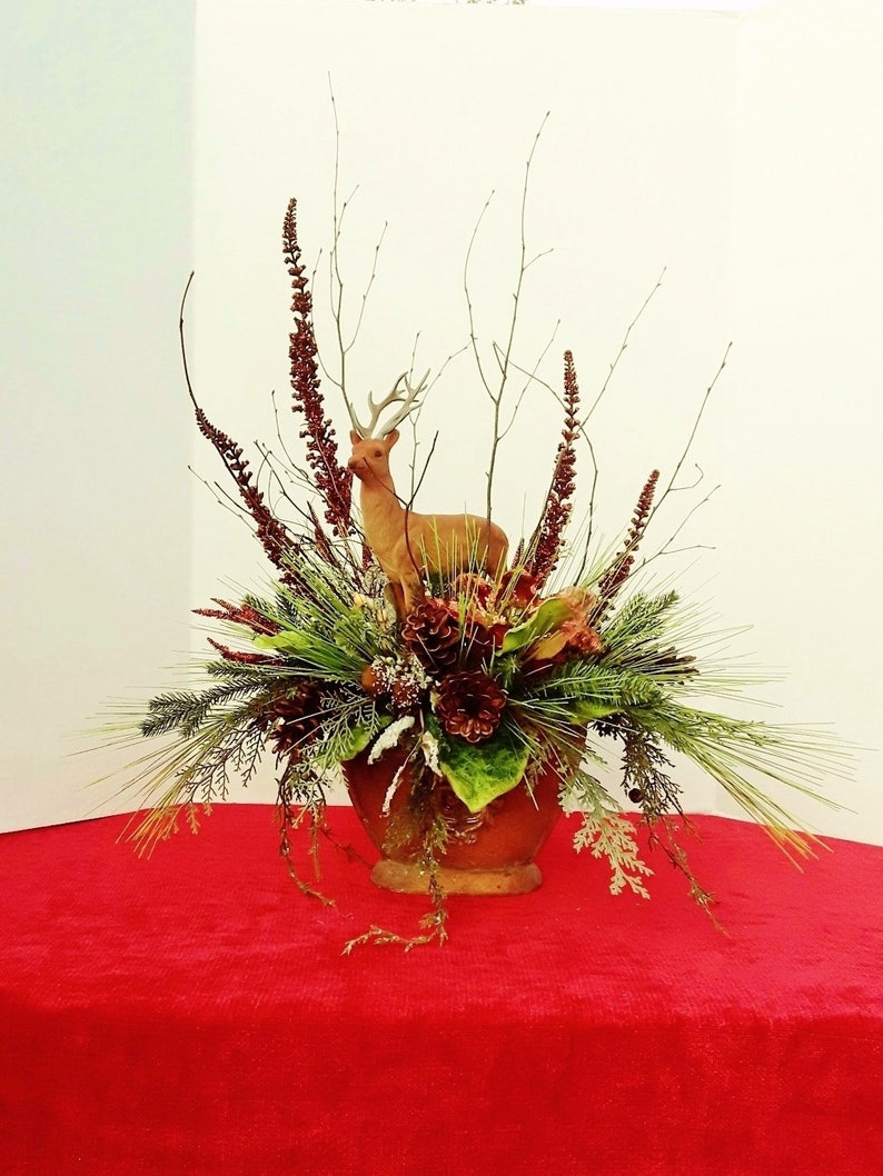 Free Shipping Christmas Flower Arrangements Christmas Table Etsy