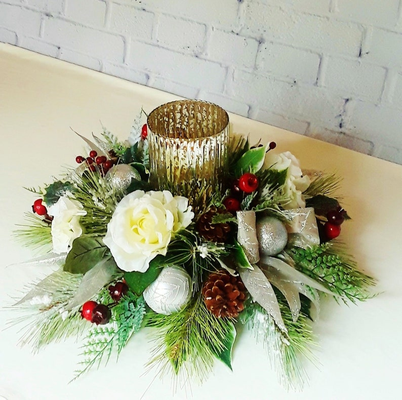 Free Shipping Christmas Table Centerpieces Christmas Floral Etsy