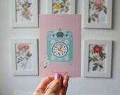 Print 10X15cm illustration Clock polly pocket