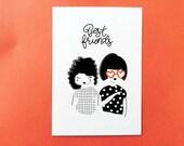 Postcard Best friends white background