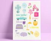 Decorative A4 poster: vintage pastel color - Polly pocket