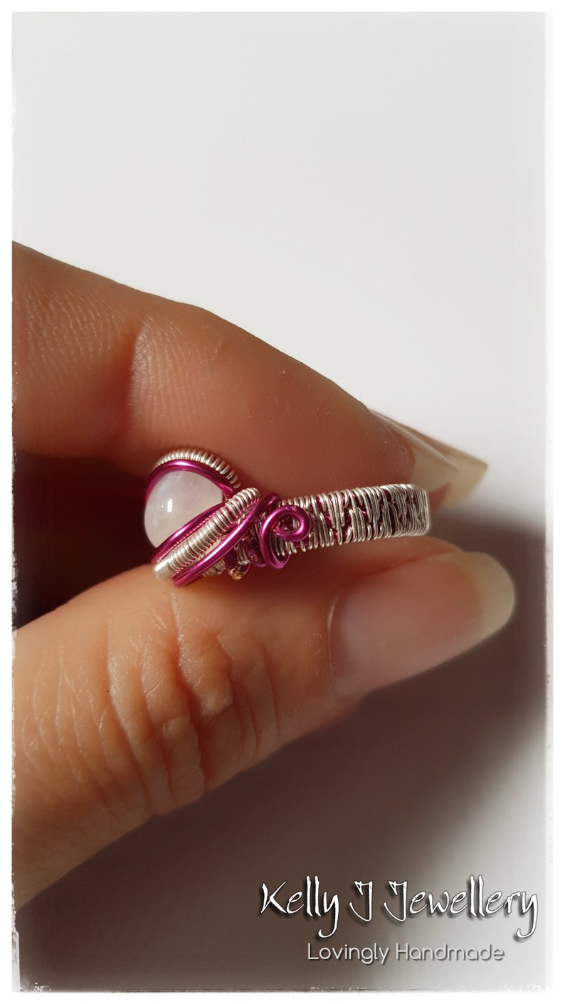 6 US M 12 UK Wire Wrapped Dazzling Pink Statement Ring with Rainbow Moonstone in Coloured wire with Sterling Silver Filled Weaving Wire