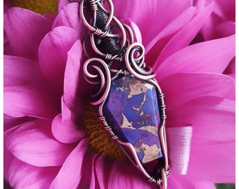 Purple Turquoise and Copper Coffin shaped stone wrapped in antiqued copper. Make a Statement with this beauty!!