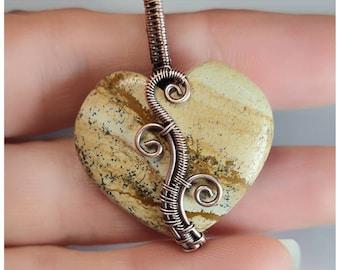 Picture jasper Heart Pendant in Antiqued Copper, unique jewellery.  My own design.