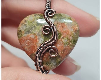 Unakite heart pendant wrapped in antiqued copper. My own design. One of a kind.