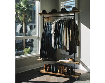48 Industrial Garment Clothing Rack With Top And Bottom Rustic Shelves Shoe Storage Loft Coat Grab