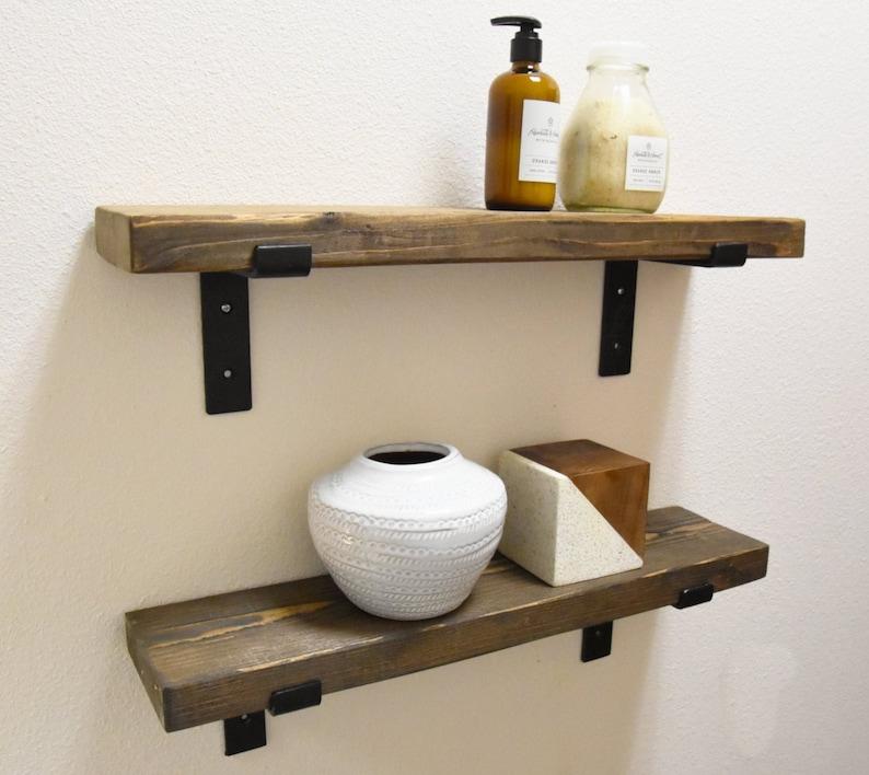 """9 1//2/"""" Deep Industrial Rustic Floating Shelf w// Flat Steel Bracket Kitchen"""