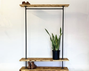 Industrial Garment Clothing Rack with Top and Bottom Rustic Shelves,  Clothing and shoe storage. Loft shoe and coat storage, Plant Storage